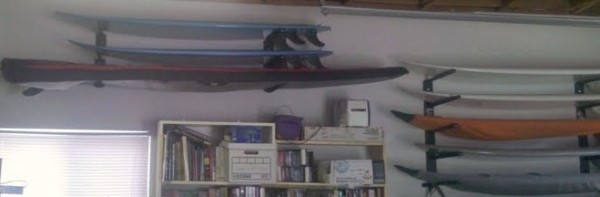 My Garage Wall My quiver on the wall using T-Rax surfboard