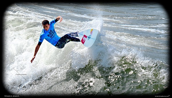 A professional surfer participating at the US Open