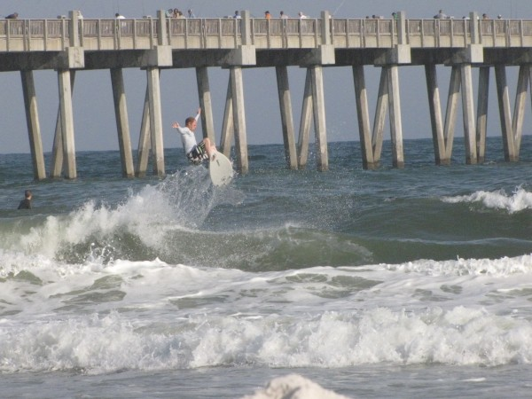 Chuck getting air at pensacola pier