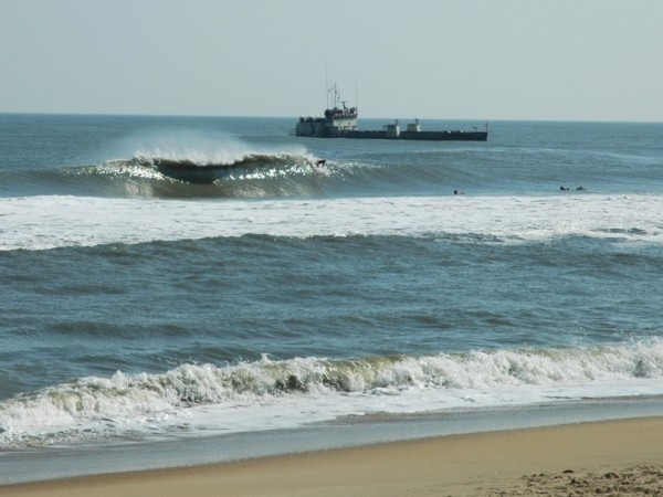 Surfing Ocmd While The Dredge Works beach nourishment