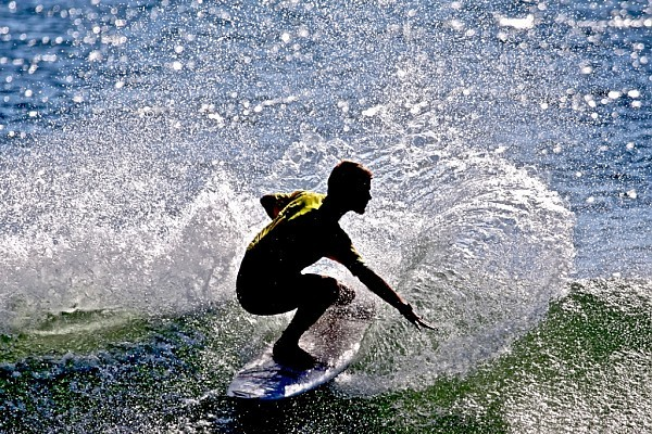 Silhouette of contestant in event. New Jersey, Surfing photo