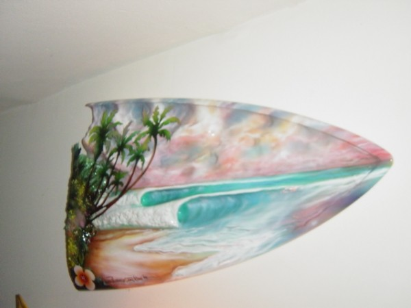 Island Time broken surfboard. in da studio, Surf Art photo