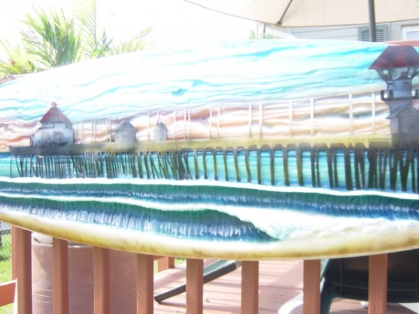 Surfart recycled board,handcarved and paint