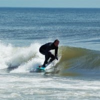 Handshaped single fin shortboard. Delmarva, surfing photo