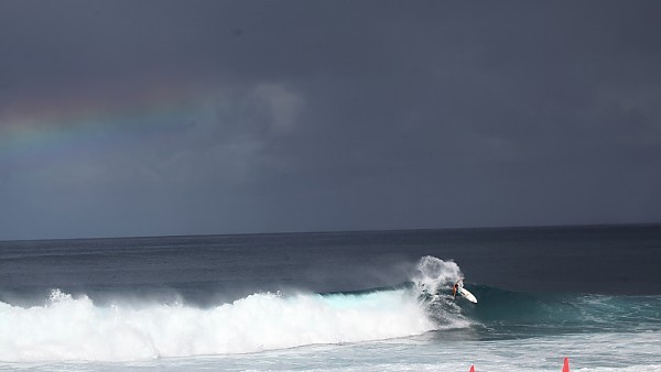 Double Overhead Action.Rainbow Two bows.