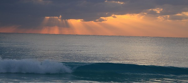 Cancun Wave Open Wave Sunrise. Mexico Yucatan Peninsula, Empty Wave photo