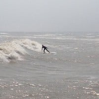 Surfside TX I am surfing in the jetty in Surfside and