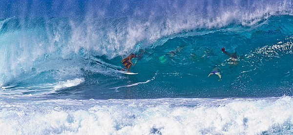 Oahu's north shore Surfing the pipeline..