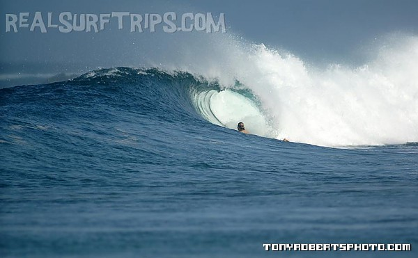 Real Surf Trips.com Paddling out, looking into the