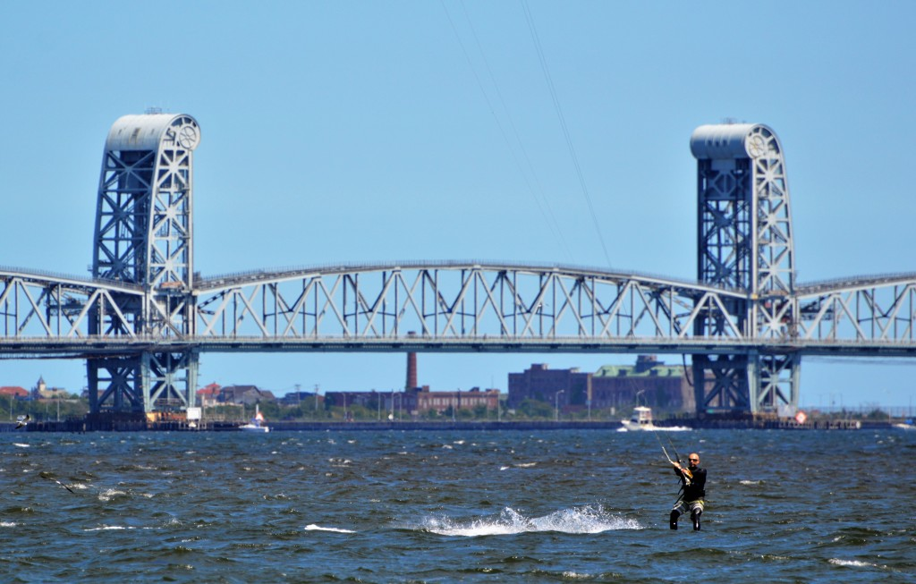 Plum Beach Draw Bridge. New York, Kitesurfing photo