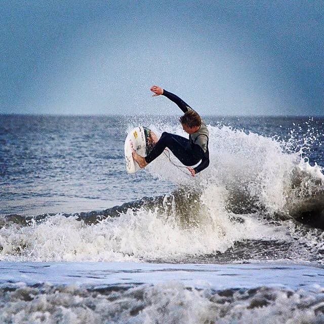 Will Davis surfing Folly Beach earlier this year