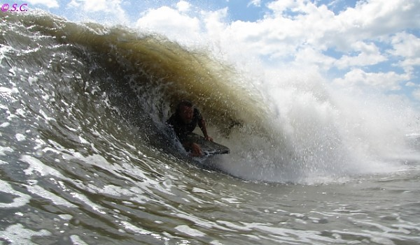 082811 Rick enjoying Irene. Delmarva, Bodyboarding photo