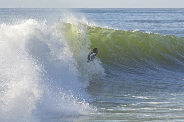 Danielle Lumpy making the left.. New Jersey, Bodyboarding photo