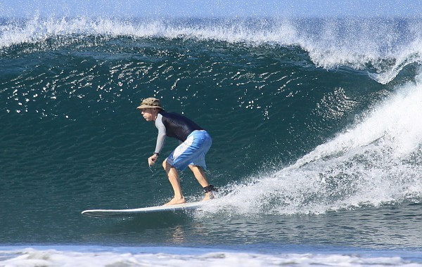 Surfing at Playa Guiones, Nosara, CR