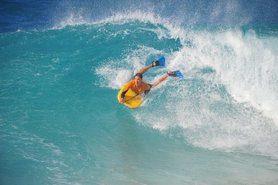 Description. Sandy Beach, Oahu, surfing photo