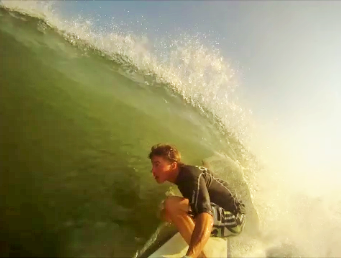 Kevin DeWald on a right during some hurricane swell
