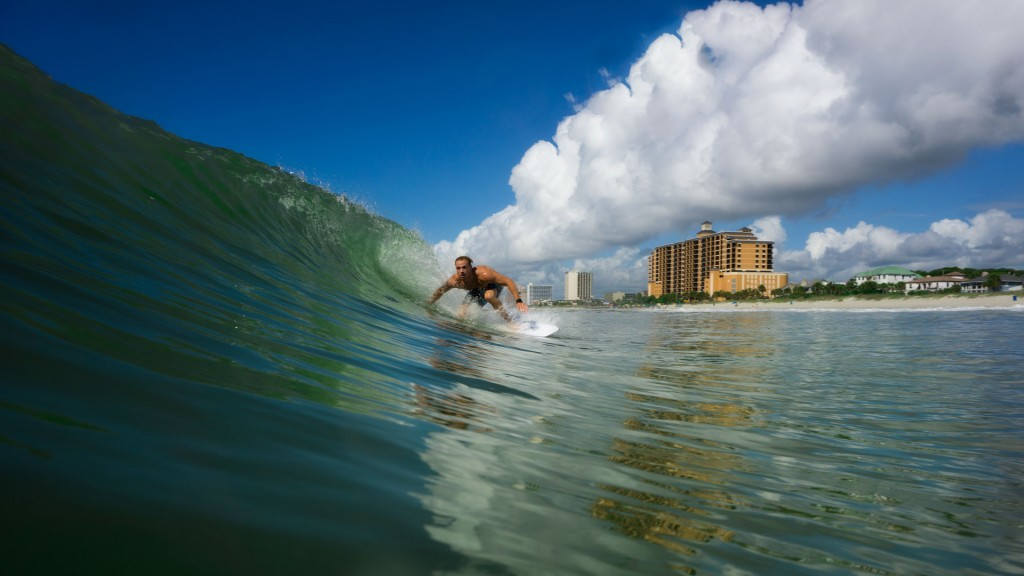 Riding over glass. South Carolina, Surfing photo