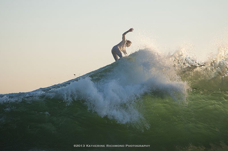 Omar Meddeb on the peak of The Wedge at Newport Beach