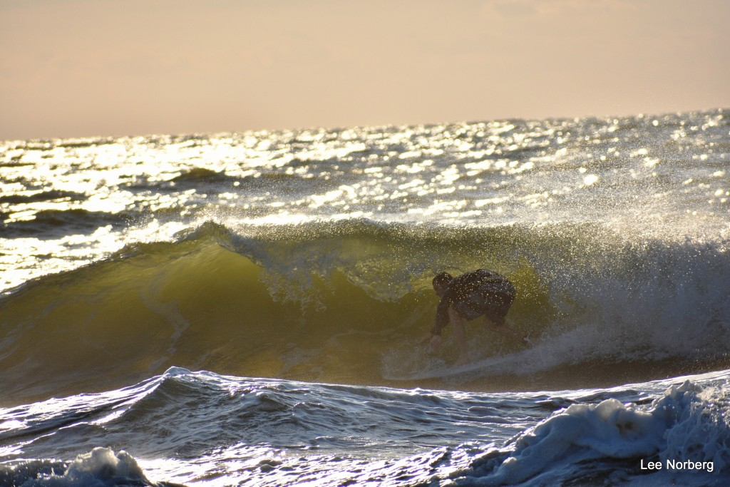 Hal Stalnaker rides the curl in rough water at The