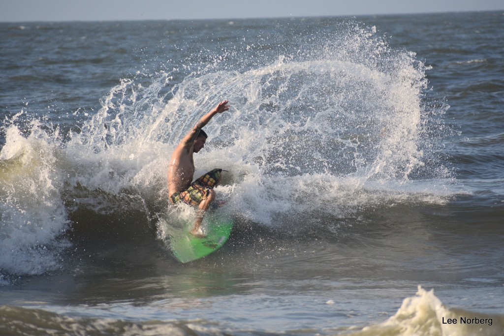 Surfing Legend Shawn Clark completes a hard turn and