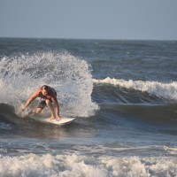 Surfer Hal Stalnaker sends the Water flying at The