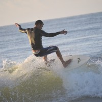 Shawn rides the Wave high at Sunrise.