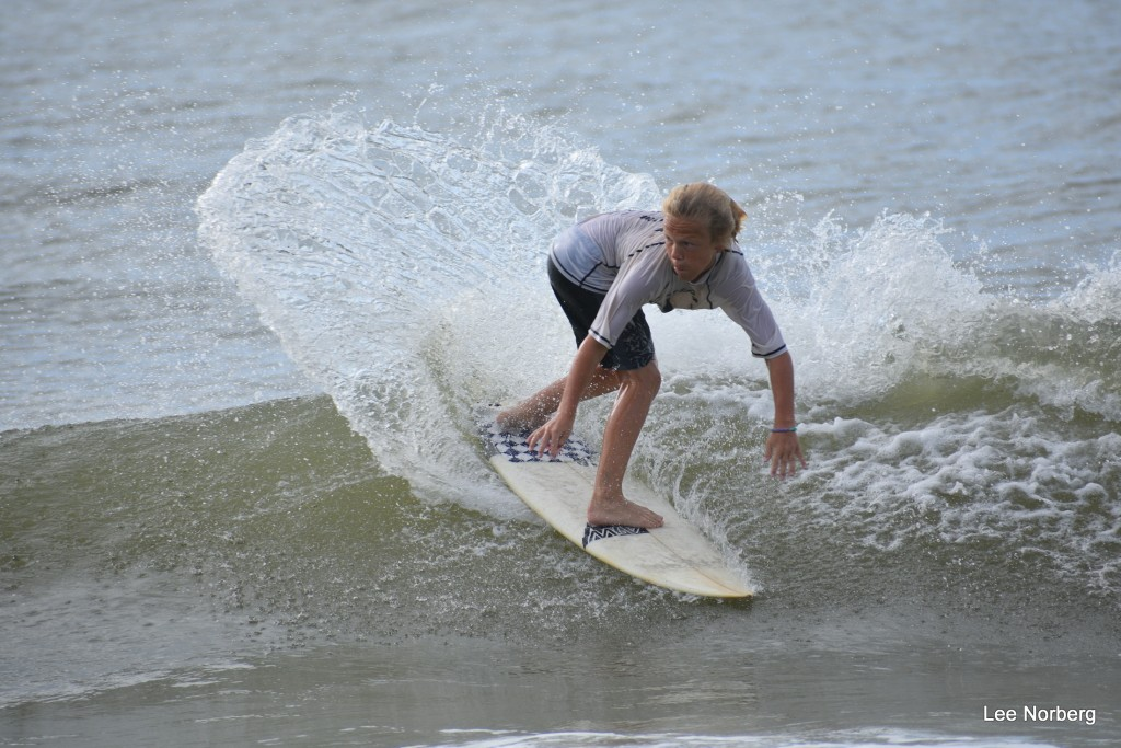 Young Man Surfer setting up a new turn on the Wave
