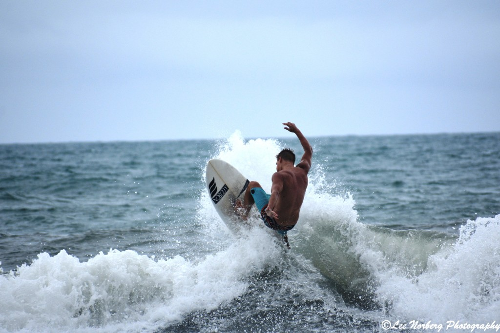 Surfer Cobi Christiansen carves up a wave at Surfside