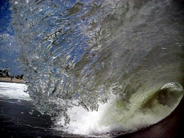 Blue sky barrel. New Jersey, surfing photo