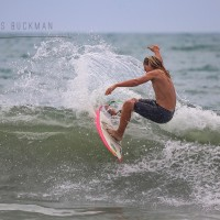 Super Grom Cam Davis ripping it up i Surfside Beach.