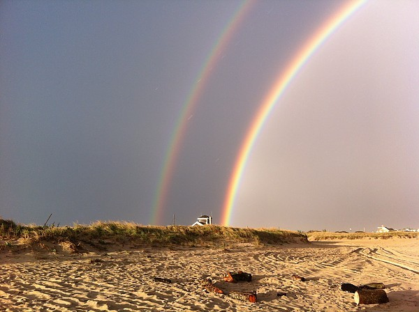 2X rainbow double rainbow while surfing late friday