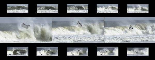 Buck hitting the flats.. buck going big on two waves